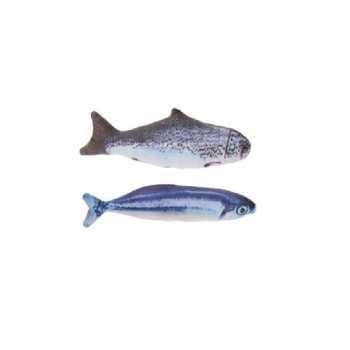 2x stuks kattenspeelgoed vissen kattenkruid/catnip 19 zalm makreel