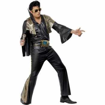 Elvis kostuum zwart goud